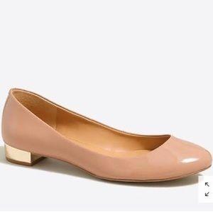 JCrew lily metallic heel ballet patent flats